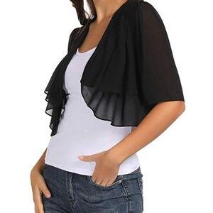 Sweaters - NWOT - Chiffon Open Front 1/2 Sleeve Sheer Bolero